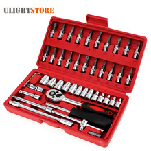 46pcs Car Repair Tool Case 1/4-Inch Socket Set Ratchet Torque Wrench Spanner Combo Tools Kit Auto Repairing Tool Kit Set(China)