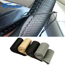 1PC Car Styling DIY Car Steering Wheel Cover With Needles and Thread Artificial leather for Diameter 38cm hot sale Accessories