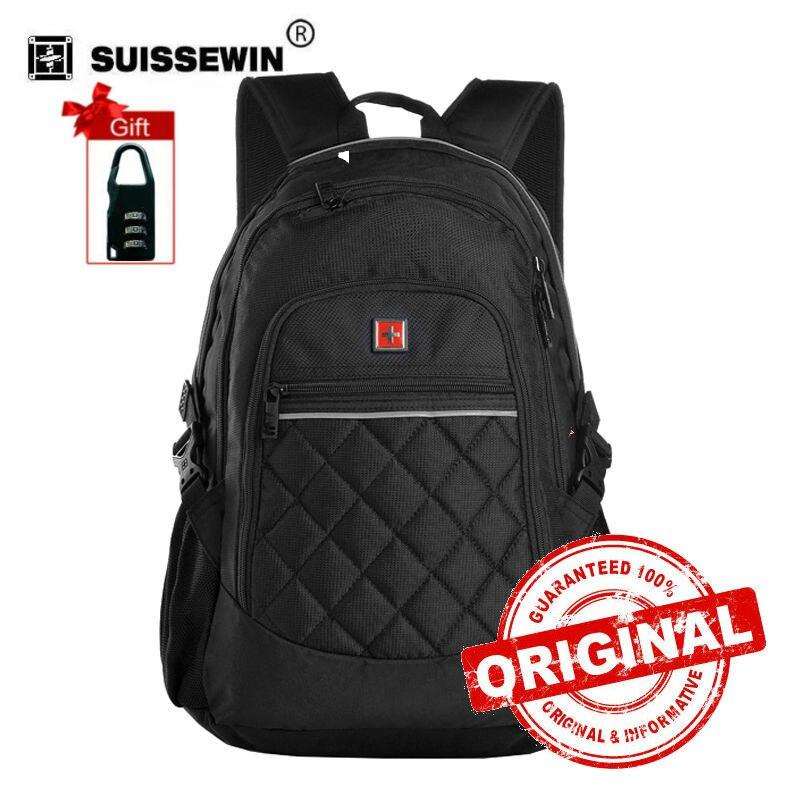 Suissewin Fashion Men Backpack Multifunctional 14 inch Computer Bag Cool School Backpack Black Plaid Bag Back Pack  sw9616<br>