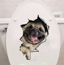 3d Hole View Vivid Dog Wall Sticker Bathroom Toilet refrigerator Computer Decor Animal Decals Art Sticker Wall Poster mural(China)