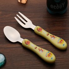 New Safety 2pcs/set Print Baby Kids Feeding Spoon + Fork Lovely Stainless steel Baby Spoon Flatware