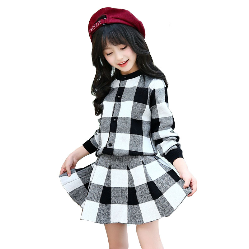 Girls Plaid Knitted Sweaters Coat &amp; Skirts 2Pcs For Girls Clothing Sets Teens Long Sleeve Cute Suit 2018 Kids Clothes Sets4-12Y <br>
