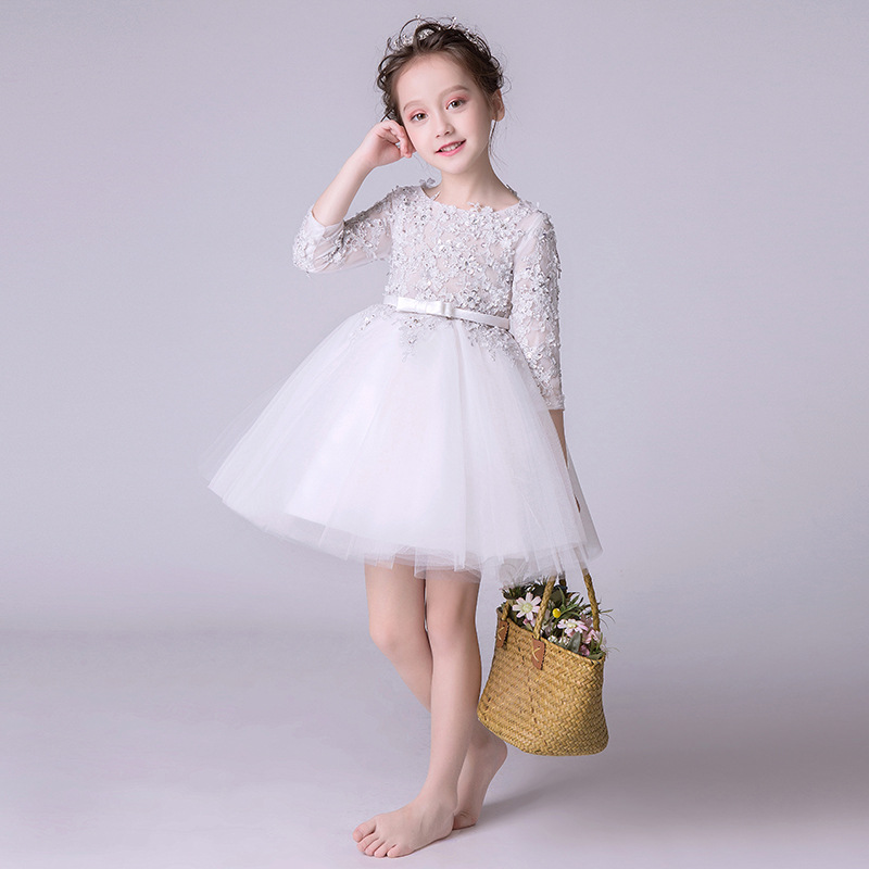 Romantic Flower Girl Wedding Bridesmaid Dress 20189 New Bead Decoration Long Lace Dress Girl Princess's birthday party dress