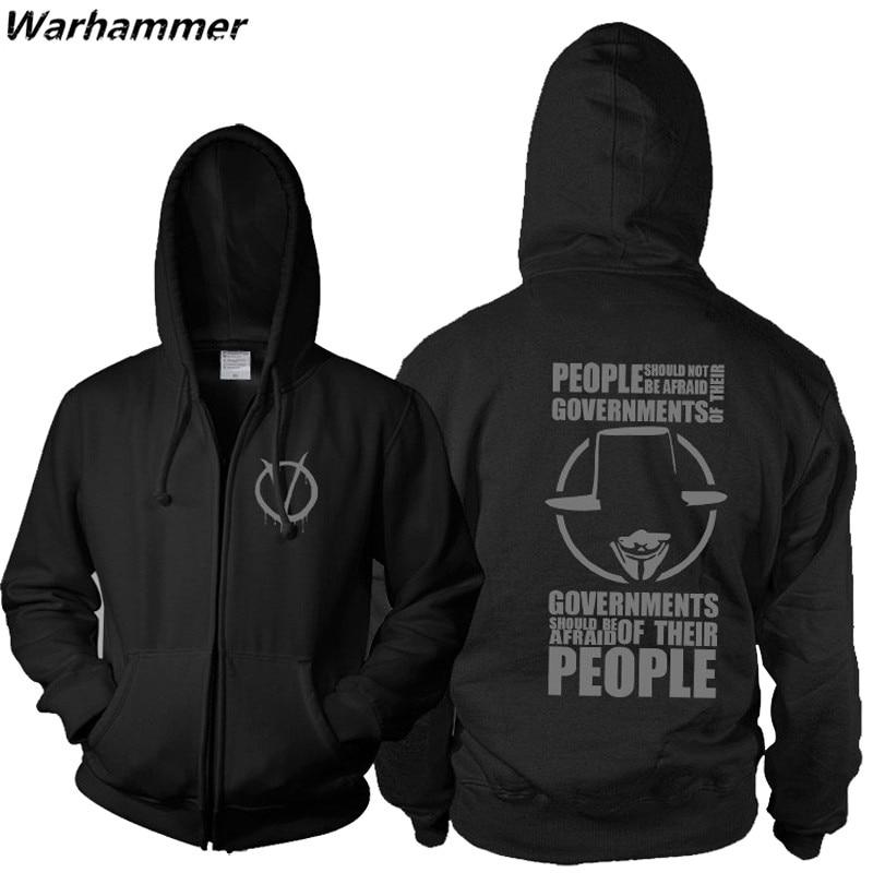 New Master swordsman anarchist V for Vendetta zip up hoodie&sweatshirt computer hacker Guy Fawkes mask mens hoodies& sweatshirts
