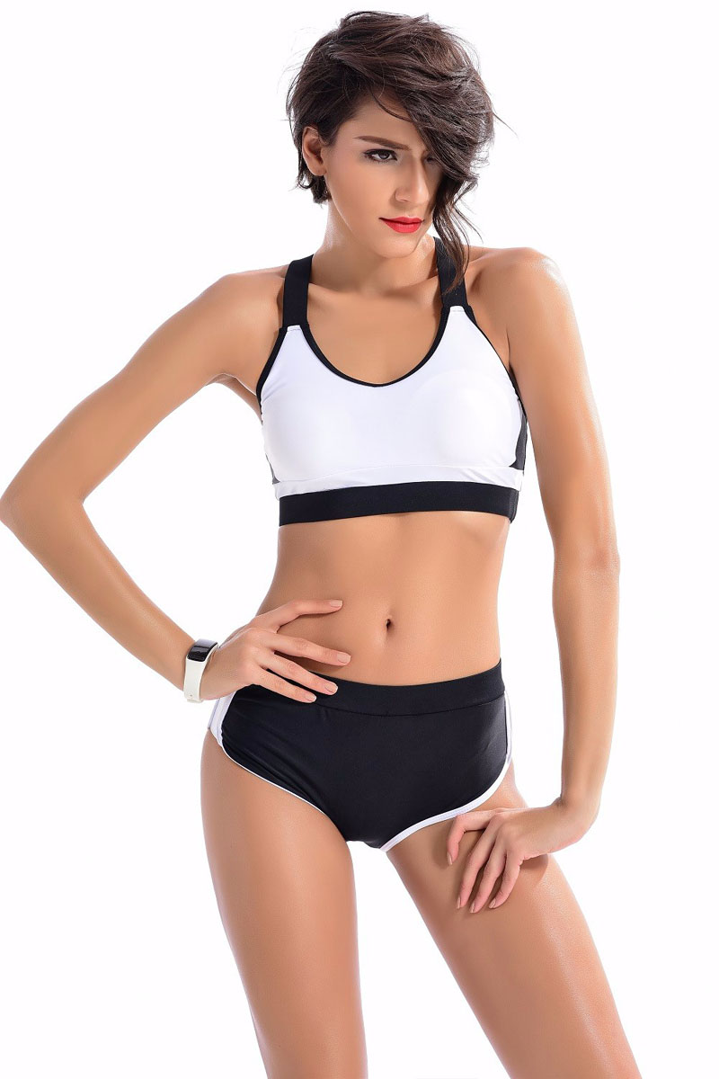 2017 Women Bikini Sets Sports Biquini Femme Training Swimwear Shorts Black White Bathing Suit High Neck Swimsuit Tankini 2320<br><br>Aliexpress