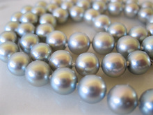 HOT## Wholesale FREE SHIPPING  charming 10-11mm tahitian silver grey pearl necklace 18inch