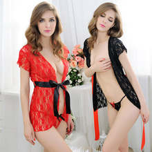 Cheap Lace Seducing Sexy Lingerie Short Exotic Babydolls See Through Women Gown Home Nightwear(China)
