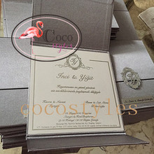 Thailand style super luxury Silk invitation box with beautiful box