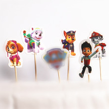 New 24pcs Cartoon Paws Patrols Dog Cupcake Ice Cream Cake Topper Nursery Party Valentine Birthday Party Wedding Supply