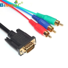 Top Quality 5ft/1.5m Pure Copper VGA Male to 3RCA Male Cables PC Connection TV HDTV Cable JA25(China)