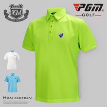 Wholesale PGM High Quality Dry Fit Shirt Sun Wear Golf Clothing Men's Short Sleeve T-shirt Sports Table Tennis Polo Shirt Summer(China)
