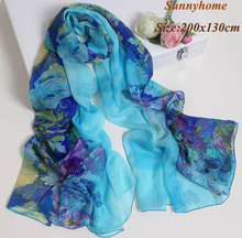 Fashion water blue flower printed silk scarf women designer bandana cheap silk scarves brand  hijab underscarf long pashmina