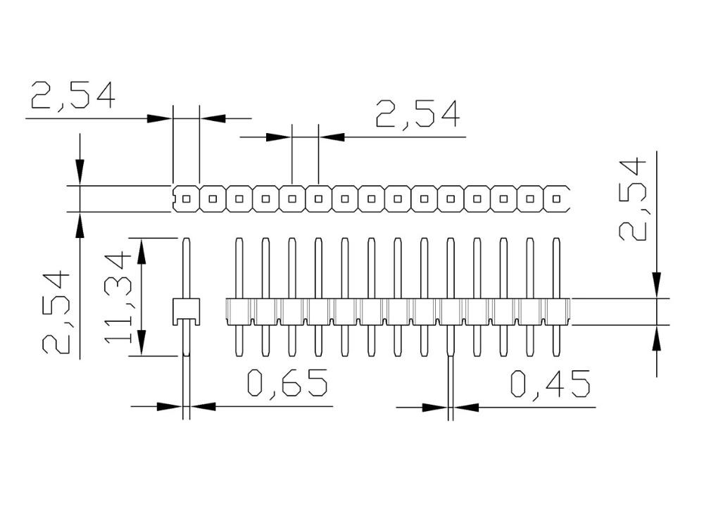 30pcs/lot  Pin Header 2.54mm Single Row Male Pin Connector 2.54mm 40 Pin 1*40pin Breakable Pin Header Connector Free Shipping