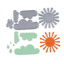 Metal Steel 133*53mm Sun Cloud Rain Set Cutting Die Stencil For DIY Scrapbooking Album Paper Card Photo Decorative Craft Die Cut