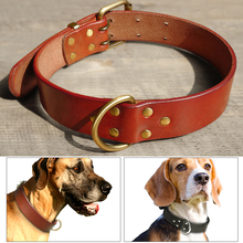 Handmade Genuine Leather Dog Collars with Durable D ring & Gold Buckle Black Brown S M L XL(China)