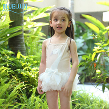 Children baby girls swimsuit soft comfortable white swan pattern girls swimming skirt beach one-piece kids swimwear with cap