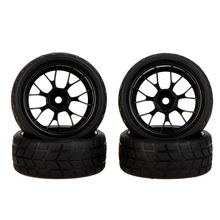 GoolRC 4Pcs High Performance 1/10 Rally Car Rubber Wheel Rim and Tire 20101 for Traxxas HSP Tamiya HPI Kyosho RC Car