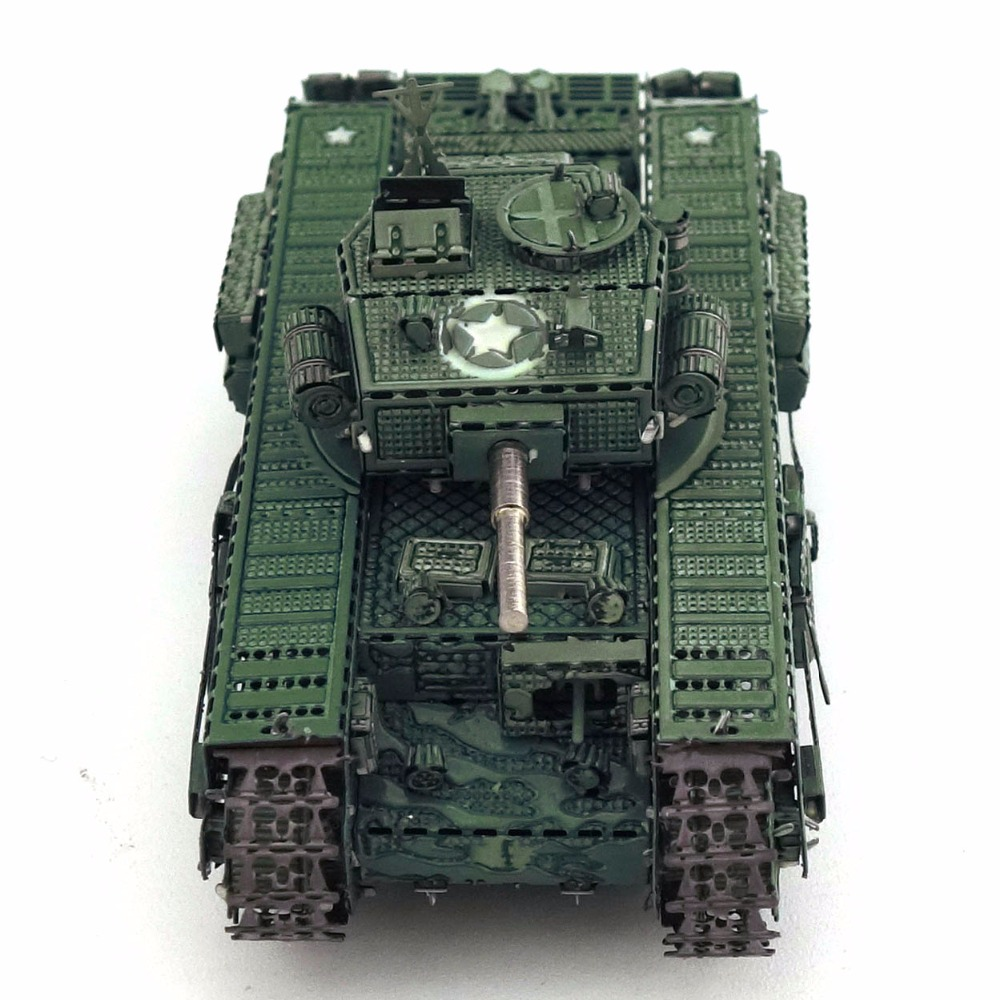 Color Churchill Tank 3D DIY Stereoscopic Metal Puzzle Nano-dimensional Assembling Model Birthday Gift Decoration Collection Toy 6
