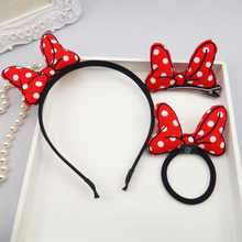 Minnie Mickey Bow Ear Dot Cloth Headband Hair Clip Elastic Rope 3 Sets Cute Girls Kids Hello kitty Festival Hair Accessories