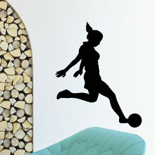 WALL DECAL VINYL STICKER GYM SPORT GIRL FOOTBALL PLAYER
