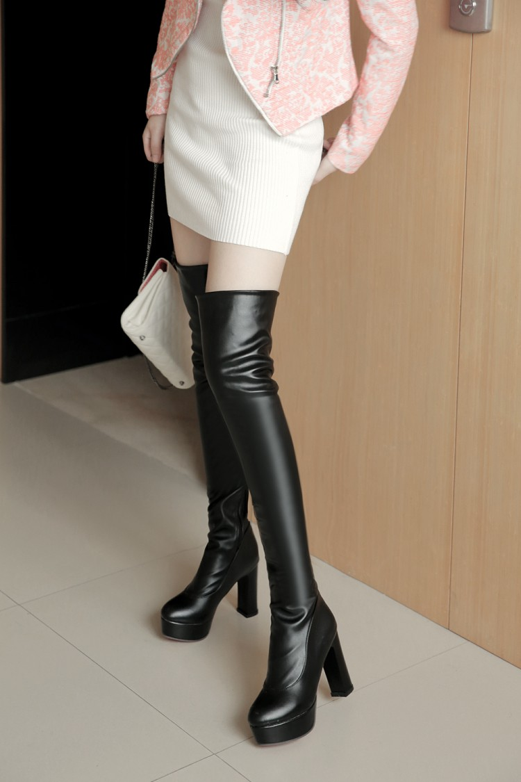 2015 Winter New High Heel Boots Leisure Elegant  Heels Sexy Women Shoes Boots Round Toe Thin Heel Leather Boots 8093<br><br>Aliexpress
