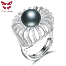 HENGSHENG 100% Genuine Natural Pearl Elegent Women Ring,set with 11-11.5mm pearl and 200 zircons,Crown shape For Party/Wedding(China)
