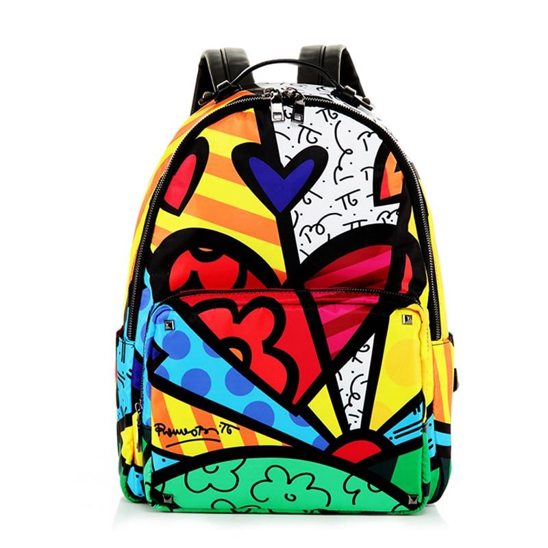 ROMERO BRITTO Free Shipping 2017 New Cartoon Graffiti Shoulder Bag Female Travel Backpack Schoolbag Backpack Female Korean Style<br><br>Aliexpress