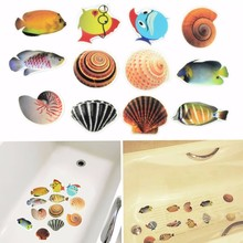 6pcs/Set Anti Slip Waterproof PVC Bathtub Stickers Decals Cartoon Fish Ocean Sea Shell Funny DIY Bathtub Stickers Lowest Price