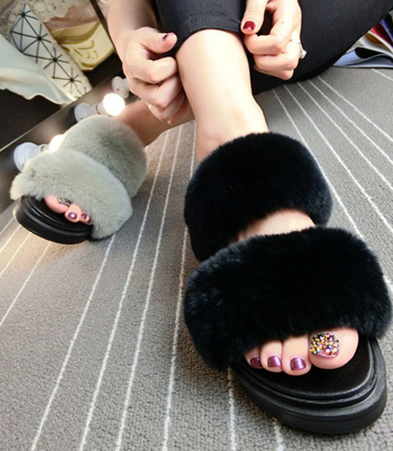 hongyi pink white red summer autumn women real genuine natural rabbit fur sandals mules slippers plush slippers women shoes<br>