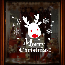 New year Christmas cartoon wall stickers new window glass display elk custom factory outlets
