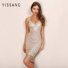 New arrival sequin bodycon dress strap sexy v-neck gold sequined sling dress knee length fashion party dress elegant clubwear(China)