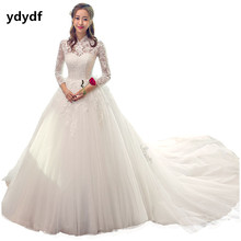commission New Chinese style high collar full sleeve lace wedding dresses with train size 2-12 (ling)