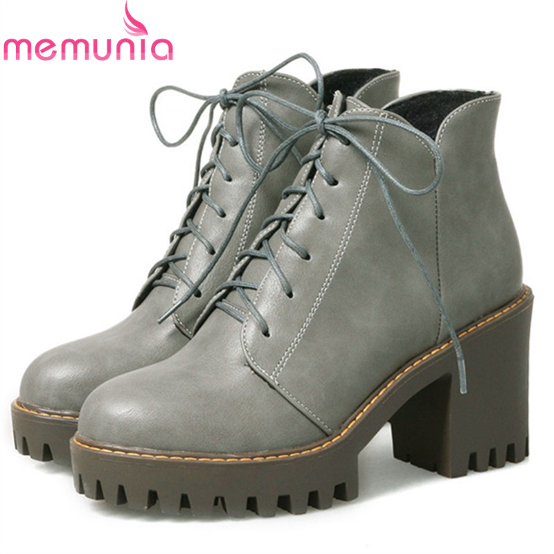 MEMUNIA 2018 Large size 34-44 womens boots female high heels shoes woman ankle boots for women platform fashion<br>