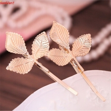 Best Price European Style Hair Accessories Fashion Lovely Leaves Golden Metal Hairpin