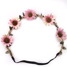 M MISM Bohemian Style Women Headband Flower Hair band Crown Wedding Wreath Bridal Headdress Forehead Head Band Hair Accessories(China)