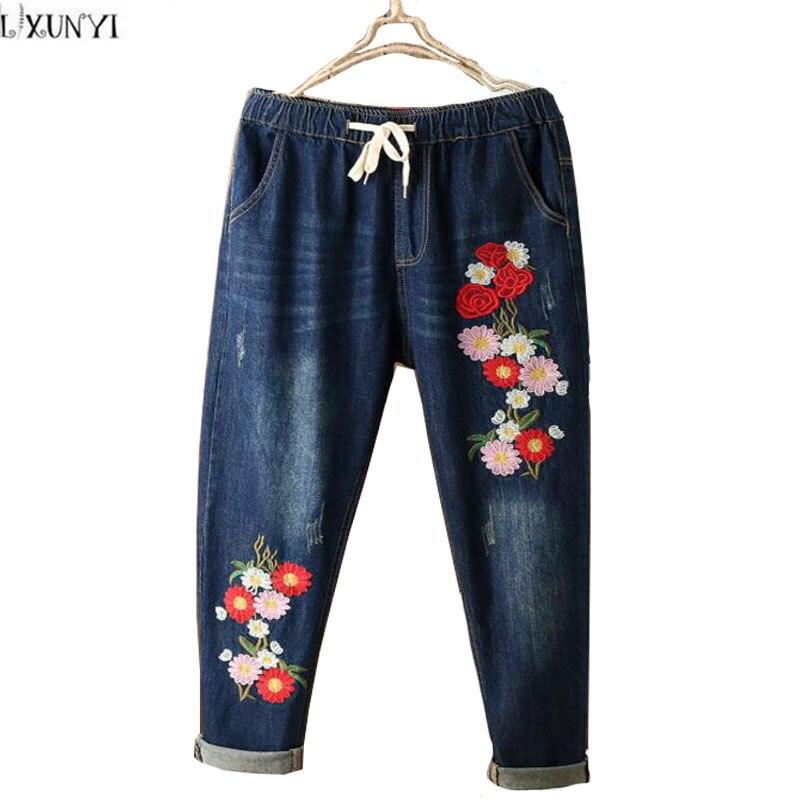National Style Flower Embroidered jeans Women Washing Drawstring   Denim Pants For Ladies Elastic Waist Trousers FemaleÎäåæäà è àêñåññóàðû<br><br>
