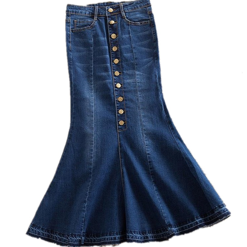 Neue Stil Herbst Damenmode Einreiher Unregelmäßigen Fischschwanz Rock Weibliche Retro Hohe Taille Denim Röcke Mädchen Langen Rock