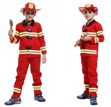 Halloween Children Truckman Cosplay Costume Children's Firefighters Stage Performance Clothing Kids Fire Party Dress Up Outfit 8