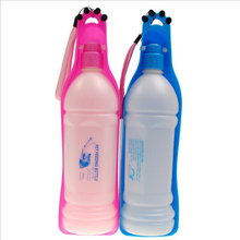 New Arrival 350ml 600ml Pink Blue Foldable Pet Dog Cat Travel Water Drinking Feeder Bottle Bowl Pet Water Dispenser