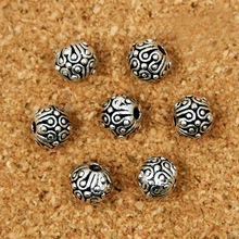 10pcs Metal beads 6MM Charms Tibetan Silver Tone Round Dots Spacer Loose Beads  Fit Necklace And Bracelet Making(BJI016)
