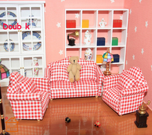Doub K 1:12 kawaii Doll House DOLLHOUSE sets Mini Furniture toys simulation Small Living room sofa pretend play for children