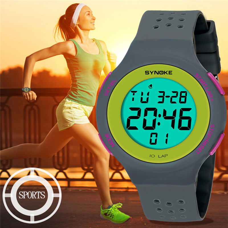 Couple Watch Digital Sports Silicone Women Luxury LED Analog 50M Multi-Function title=