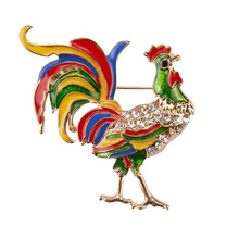 Factory Direct Sale Enameled and Crystal Rhinestones Chicken Rooster Fashion Brooch Pins for Women