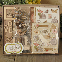 1Pcs/set Cute DIY Mini Photo Album Making Kit Vintage Scrapbook Album Set For Kid Birthday Wedding Scrapbooking Gift(China)
