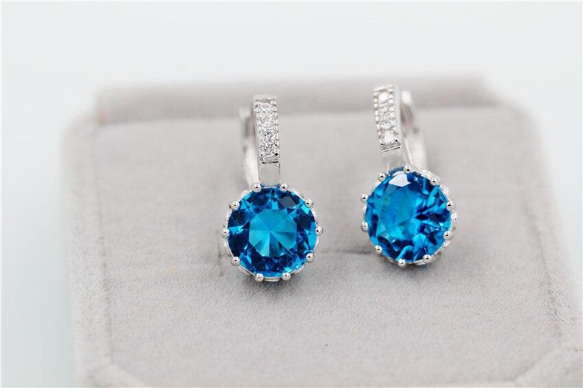 9 Colores Rosa Azul De Plata Pendientes de Cristal Grandes Con Piedras Cubic Zirconia Wome