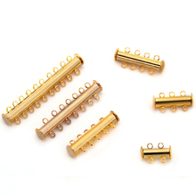 10 pcs/lot 2 rows Gold Magnetic Clasp for DIY Bracelet and necklaces F786(China)