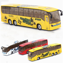 Abbyfrank 1:50 Bus Miniature Model Car Toys Pull Back City Bus Musical Educational Mini Toy For Children Brinquedo Menino(China)
