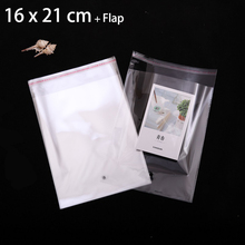 500pcs 16 x 21 cm CRYSTAL CLEAR PLASTIC PACKAGING BAGS FOLD-OVER FLAP SEAL CELLOPHANE CELLO BAG GIFT POUCHES