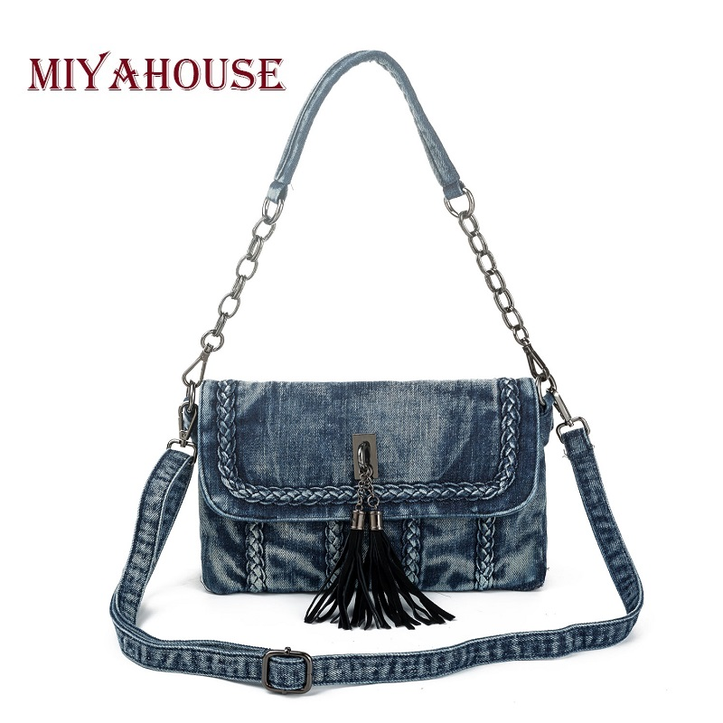 Miyahouse Luxury Denim Shoulder Bag Women Jeans Chain Design Handbag With Tassel High Quality Female Crossbody Messenger Bags<br>