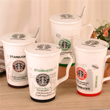 The new Starbucks ceramic coffee cup with lid with spoon cup body relief mug cup bottom slip cup